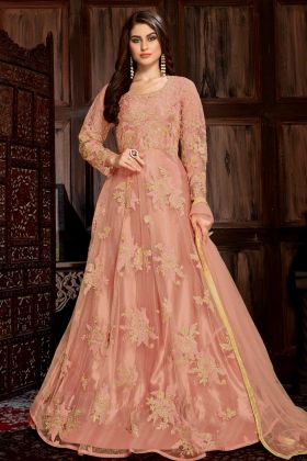 Net Designer Anarkali Dress Peach Color In Coding Embroidery With Sequence Work