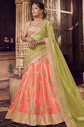 Net Designer Bridal Lehenga Choli Peach Color With Resham Embroidery Work