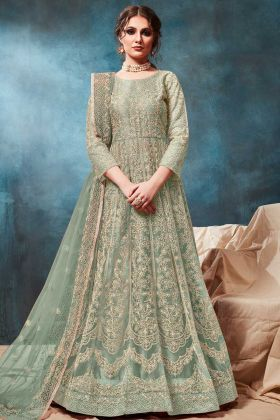 Net Designer Gown Style Anarkali Salwar Suit In Pastel Green Color