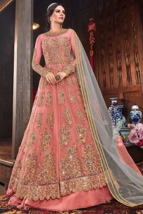 Net Designer Indo Western Suit With Two Bottom Dark Peach Color