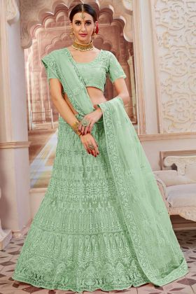Net Designer Lehenga Choli In Stone Work Mint Green Color