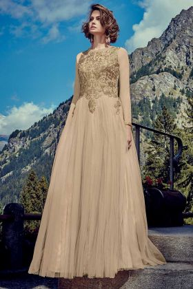 Net Designer Readymade Gown Beige Color