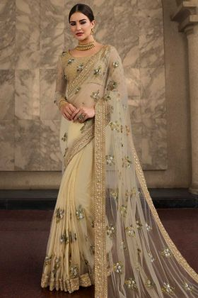 Net Designer Saree Cream Color With Stone Work