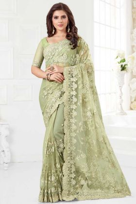 Net Designer Saree Resham Embroidery Work In Mint Green Color