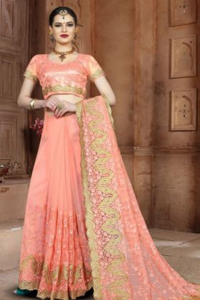 Net Designer Saree Stone Work In Peach Color