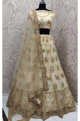 Net Designer Wedding Lehenga Choli In Cream Color