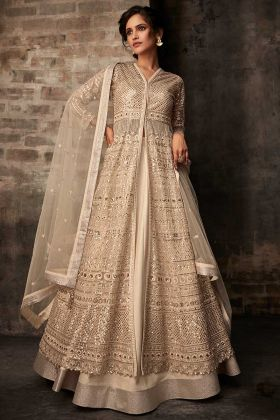 Net Dhoti Kameez Embroidery Work In Beige Color