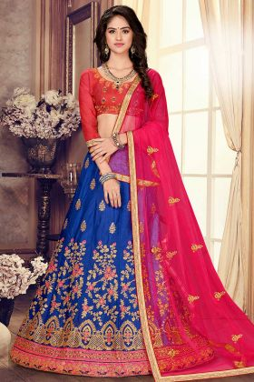 Net Dupatta Royal Blue Embroidered Satin Silk Wedding Lehenga Choli