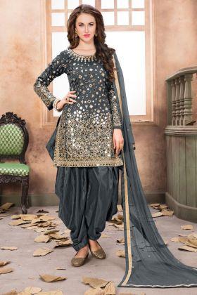 Net Dupatta Taffeta Silk Punjabi Salwar Suit Grey Color