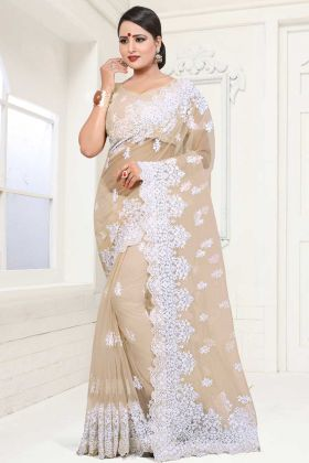 Net Embroidered Saree Beige Color