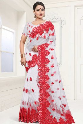 Net Embroidered Saree White Color