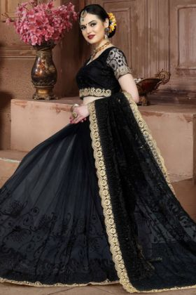 Net Embroidery Saree In Black Color
