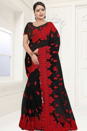 Net Fabric Designer Saree Black Color With Moti Work