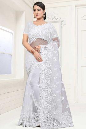Net Fabric Designer Saree White Color With Moti Work
