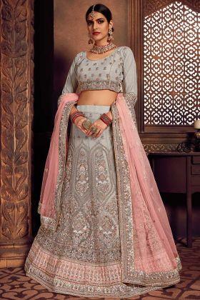 Net Fabric Lehenga Choli With Thread Work Grey Color