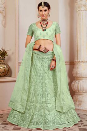 Net Fabric Wedding Lehenga Choli Light Green