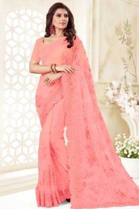 Net Festival Lehenga Choli Stone Work In Pink Color