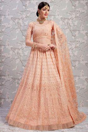 Net Festive Lehenga With Net Blouse Peach Color
