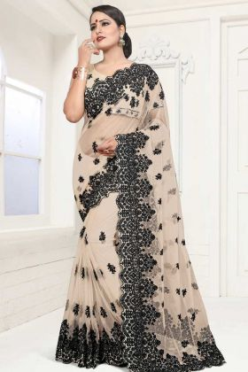 Net Festive Saree In Resham Embroidered Beige Color