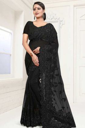 Net Festive Saree In Resham Embroidered Black Color