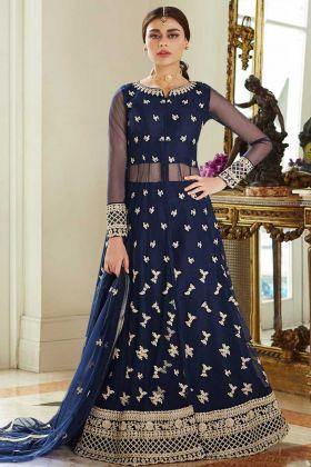 Net Front Slit Anarkali Suit Blue Color In Embroidered Work