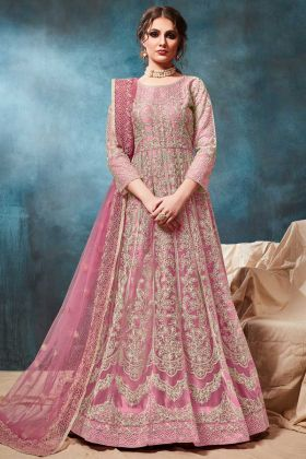Net Gown Style Anarkali Salwar Kameez In Pink Color