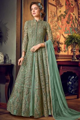 Net Gown Style Anarkali Salwar Suit In Pastel Green Color
