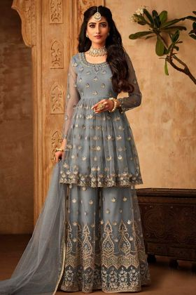 Net Grey Designer Sharara Suit