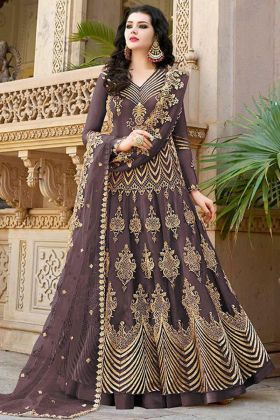 Net Indo Western Dress Brown Color With Stone Work