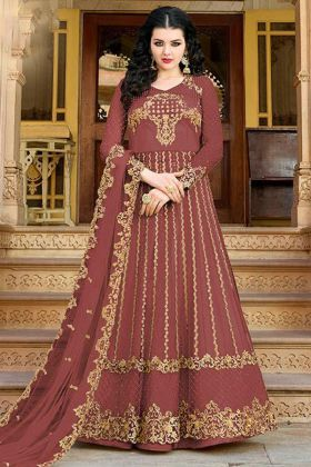 Net Indo Western Dress Embroidery Work In  Indian Red Color