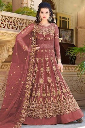 Net Indo Western Dress Embroidery Work In Red Color