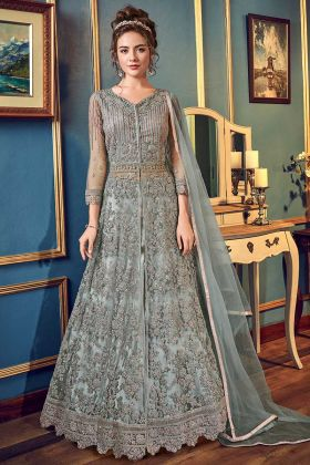Net Indo Western Dress Grey Color With Sequence Work