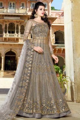 Net Indo Western Dress Resham Embroidery Work In Dark Grey Color