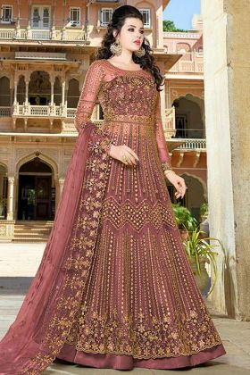 Net Indo Western Dress Zari Work In Red Color