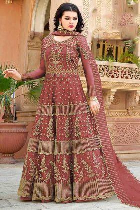 Net Indo Western Salwar Kameez Embroidery Work In Red Color