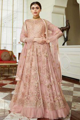 Net Indo Western Salwar Kameez Pink Semi Stitched With Net Dupatta