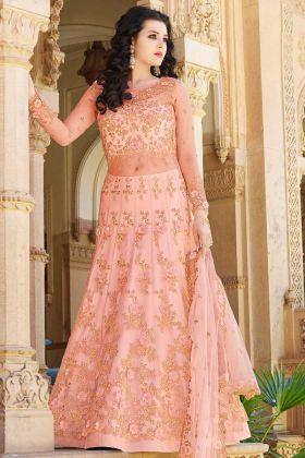 Net Indo Western Salwar Kameez Peach Color With Jari Embroidery Work
