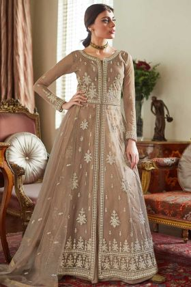 Net Indo Western Suit In Embroidered Beige Color