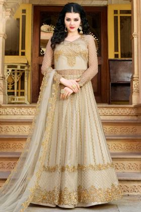 Net Jari Embroidery Work Indo Western Suit In Pale Grey Color