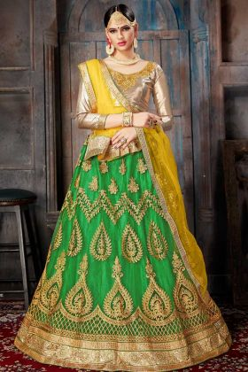 Net Lehenga Choli Dori Work In Green Color