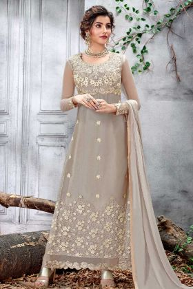 Net Light Grey Straight Salwar Suit