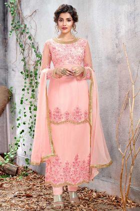 Net Light Pink Straight Salwar Kameez