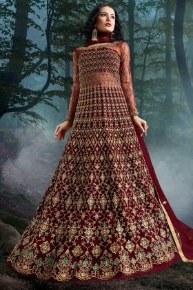 Net Maroon Anarkali Dress In Fully Embroidered Work