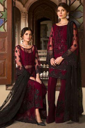 Net Maroon Pant Style Pakistani Salwar Kameez