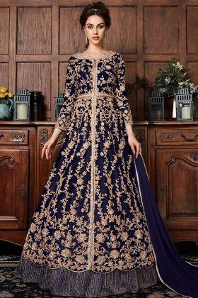 Net Navy Blue Indo Western Dress