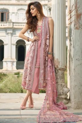 Net Organza Pakistani Salwar Suit Heavy Embroidery Work In Pink Color