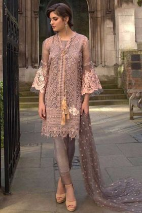 Net Pakistani Dress Embroidery Work In Grey Color