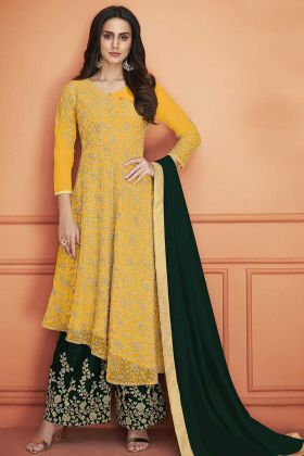 Net Palazzo Salwar Suit Heavy Embroidery Work In Mustard Color