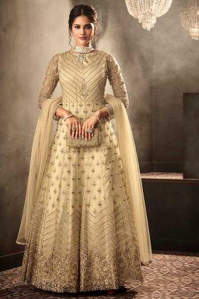 Net Party Wear Anarkali Dress Heavy Embroidery Work In Cream Color