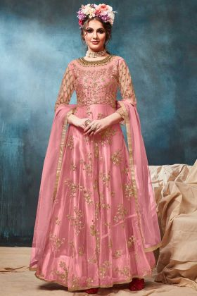 Net Party Wear Anarkali Salwar Suit In Pink Color